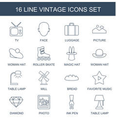 16 vintage icons vector