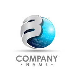 3d business corporate letter b logo design vector image