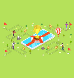3d isometric flat concept mobile gaming vector