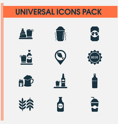 Alcohol icons set with beer bottle geolocation vector