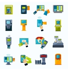 Atm payment flat icons set vector