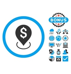 Bank Placement Flat Icon with Bonus vector