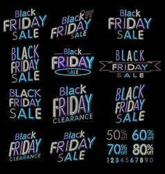 Black Friday Designs NEON Retro Style Elements vector image
