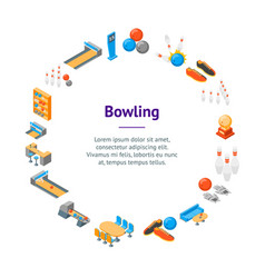 bowling game banner card circle isometric view vector image
