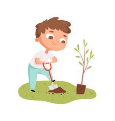 Boy planting tree toddler digging hole cartoon vector