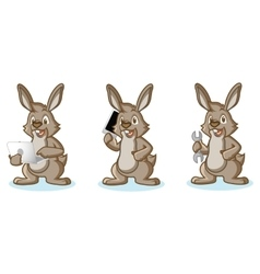 Brown Bunny Mascot with laptop vector image