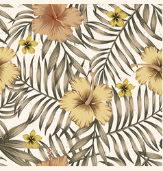 brown tropical leaves golden hibiscus beige vector image