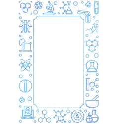 Chemical concept vertical blue linear frame vector
