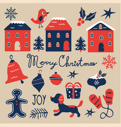 Christmas graphics collection cute colorful vector