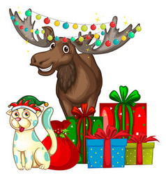 Christmas theme with reindeer and cat vector