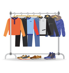 Clothes hanger with casual man footwear vector
