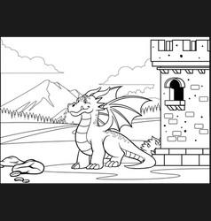 coloring page dragon vector image