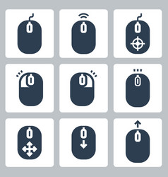 Computer mouse and its buttons indication icon set vector