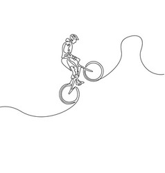 continuous one line cyclist in a helmet jump a vector image