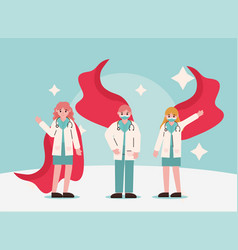 Doctor hero group physician professional vector