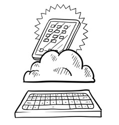 doodle ipadish cloud keyboard vector image