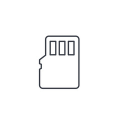 Flash memory sd card thin line icon linear vector