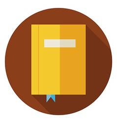 Flat Book with Bookmark Circle Icon with Long vector