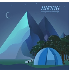 Flat colorful night tourism camping setIcons vector