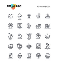 Flat line icons design-restaurant and food vector