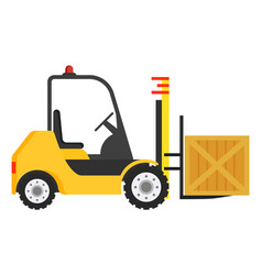 forklift machine industrial truck to move boxes vector image