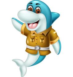 Funny blue dolphin in brown uniform cartoon vector