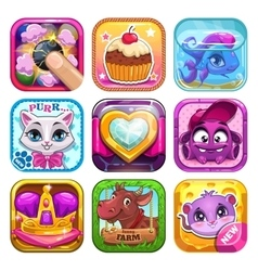 Funny cartoon kids games elements vector image