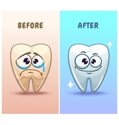 Funny cartoon teeth characters vector image