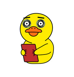Funny duck sticker for korean messenger kakao talk vector