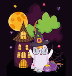 ghost spider house scary halloween vector image
