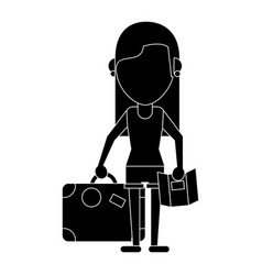 Girl map travel suitcase pictogram vector