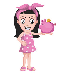 girl with piggy bank on white background vector image