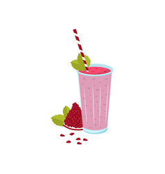 glass of fresh pomegranate juice with a straw vector image