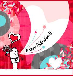 Hand drawn cartoon greeting card - valentine vector