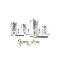 Hand drawn open doors with conceptual lettering vector image