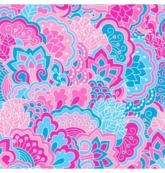 Hand drawn seamless pattern with floral elements vector image