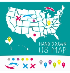 hand drawn us map whit map pins vector image