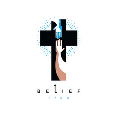 hand of believer extends to the hand of god vector image vector image