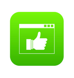 hand with thumb up in browser icon digital green vector image