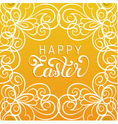 Happy easter handwritten type greeting card in vector