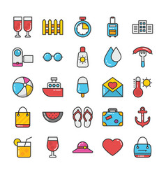 hotel and travel colored icons set 6 vector image