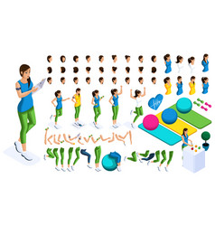 isometrics create your sports girl vector image