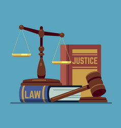 Justice scales and wood judge gavel wooden hammer vector