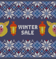 Knitted christmas pattern with yellow pigs vector