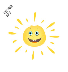 Laughing sun childs drawing sun summer vector