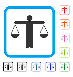 Lawyer weight framed icon vector
