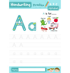 Letter a uppercase and lowercase tracing practice vector