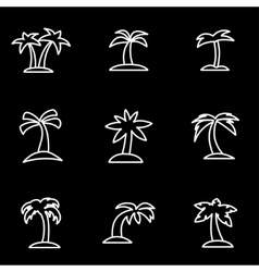 line palm icon set vector image