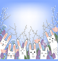 little cute bunnies in hyacinths and tulip flowers vector image