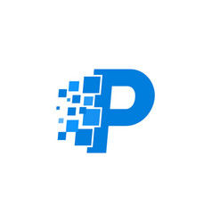 logo letter p blue blocks cubes vector image